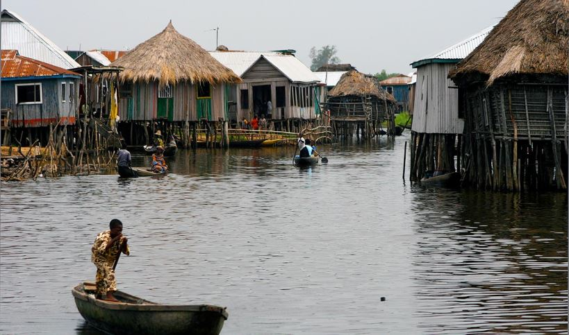 Ganvie Benin , benin/abomey-3008.jpg Hotels in Ganvie. Not far from the capital of Benin, Cotonou is Africa's largest floating village, Ganvie.  Home to around 20,000 people life exists on stilts.