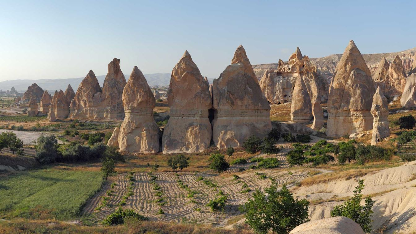 Cappadocia Turkey , The heart of Cappadocia is an excellent base to explore both underground cities and natural landscapes from the air.  Cappadocia is the world's largest hot air ballooning location with dozens of hot air balloons floating over the surround landscapes every morning.  In the afternoons head underground and explore ancient subterranean cities. - Hidden Hostels